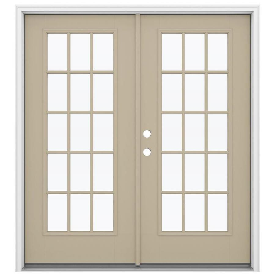 Shop reliabilt 71 5 in 15 lite glass sandy shore for Fiberglass patio doors
