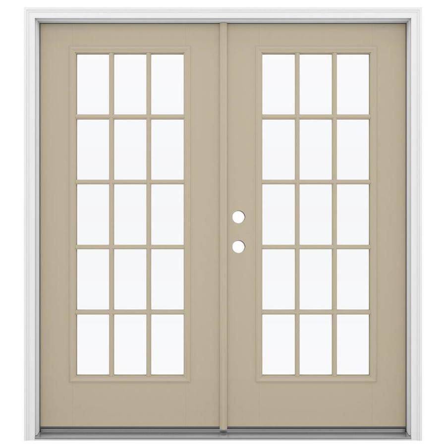 ReliaBilt 71.5-in 15-Lite Glass Sandy Shore Fiberglass French Inswing Patio Door