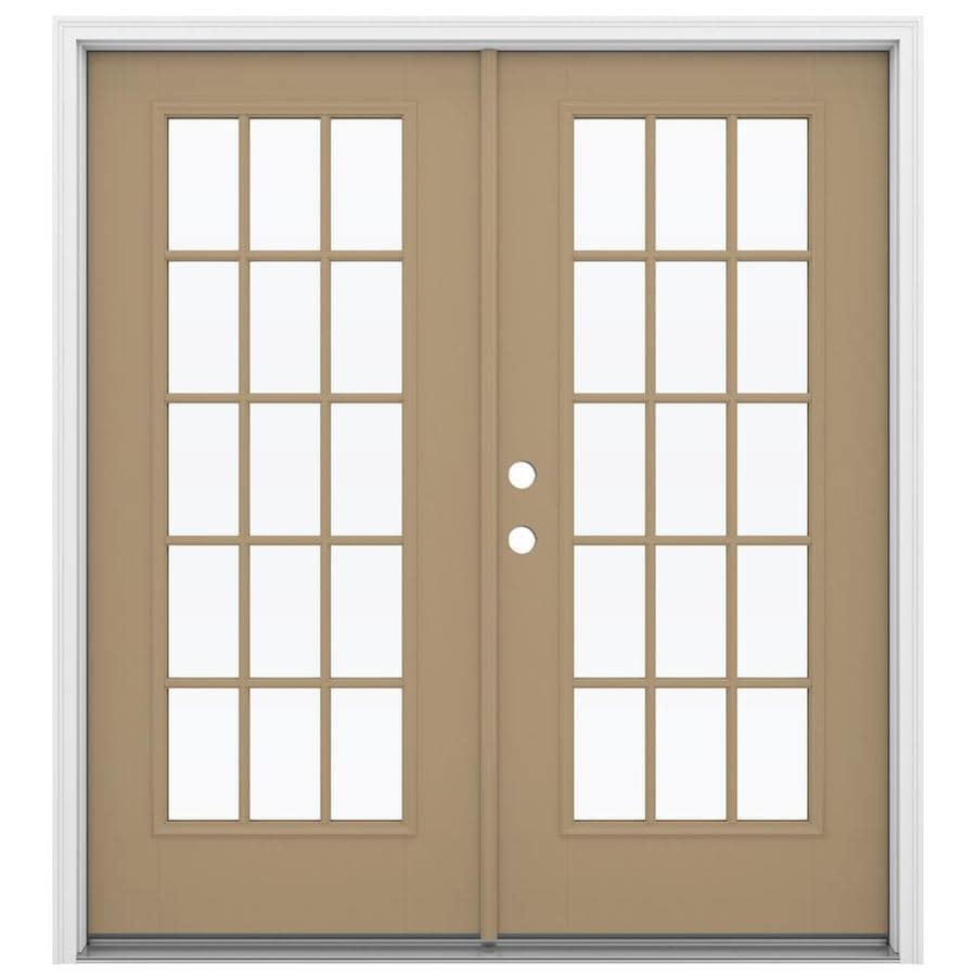 Shop reliabilt 71 5 in 15 lite glass warm wheat fiberglass for Fiberglass patio doors