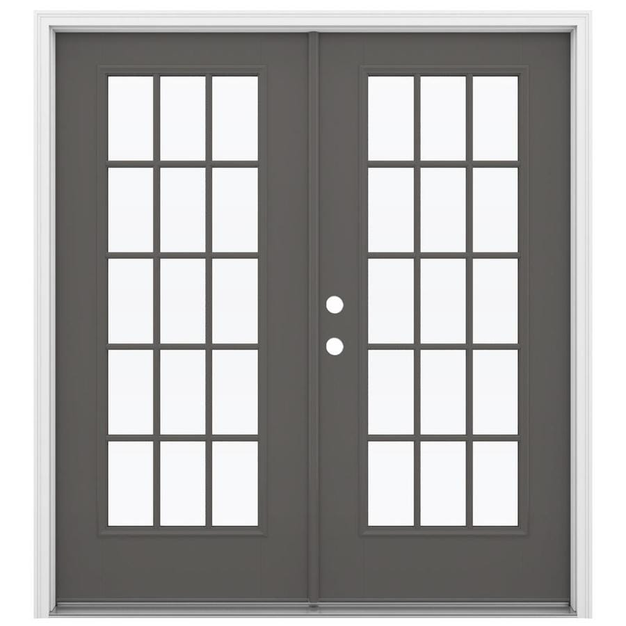 ReliaBilt 71.5-in x 79.5-in Simulated Divided Light Right-Hand Inswing Gray Fiberglass French Patio Door