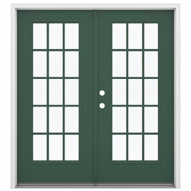 Jeld Wen Simulated Divided Light Evergreen Fiberglass French Patio Door With Insulating Core Common