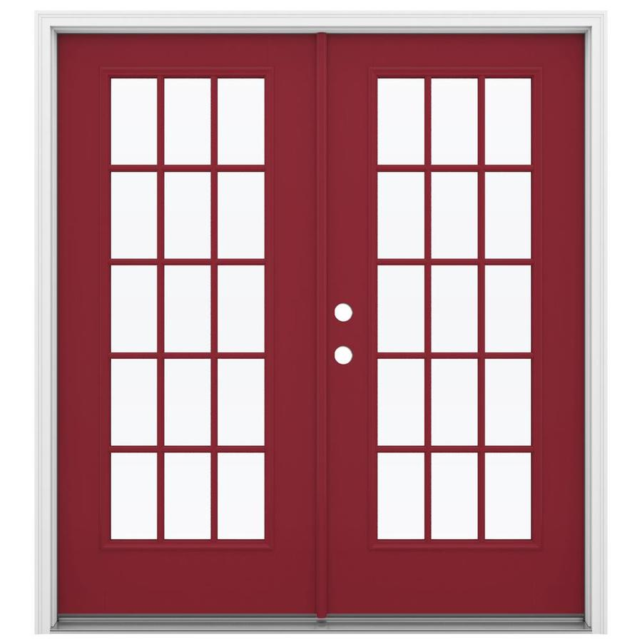 ReliaBilt 71.5-in x 79.5-in Simulated Divided Light Right-Hand Inswing Red Fiberglass French Patio Door