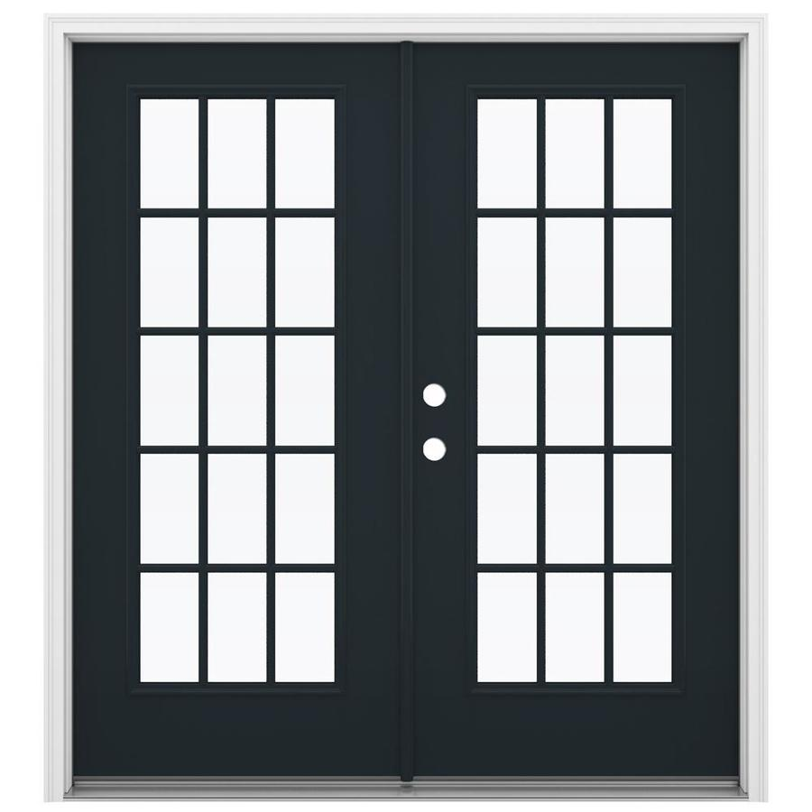 ReliaBilt 71.5-in 15-Lite Glass Eclipse Fiberglass French Inswing Patio Door