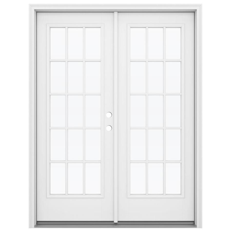 Shop reliabilt 59 5 in 15 lite glass primed fiberglass for French patio doors outswing