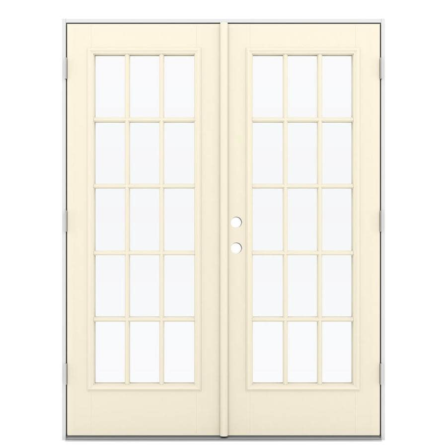 ReliaBilt 59.5-in 15-Lite Glass Bisque Fiberglass French Outswing Patio Door