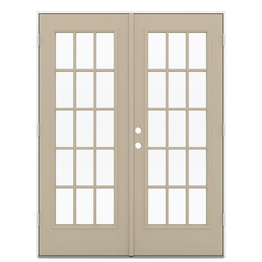 ReliaBilt 59.5-in 15-Lite Glass Sandy Shore Fiberglass French Outswing Patio Door