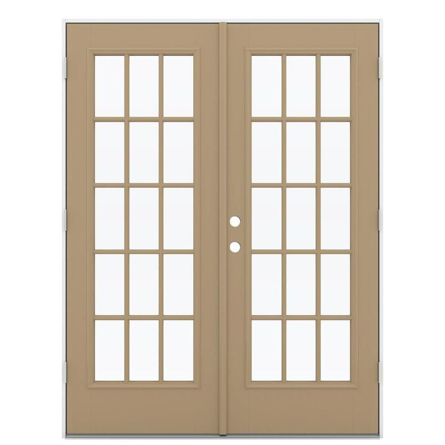 ReliaBilt 59.5-in 15-Lite Glass Warm Wheat Fiberglass French Outswing Patio Door