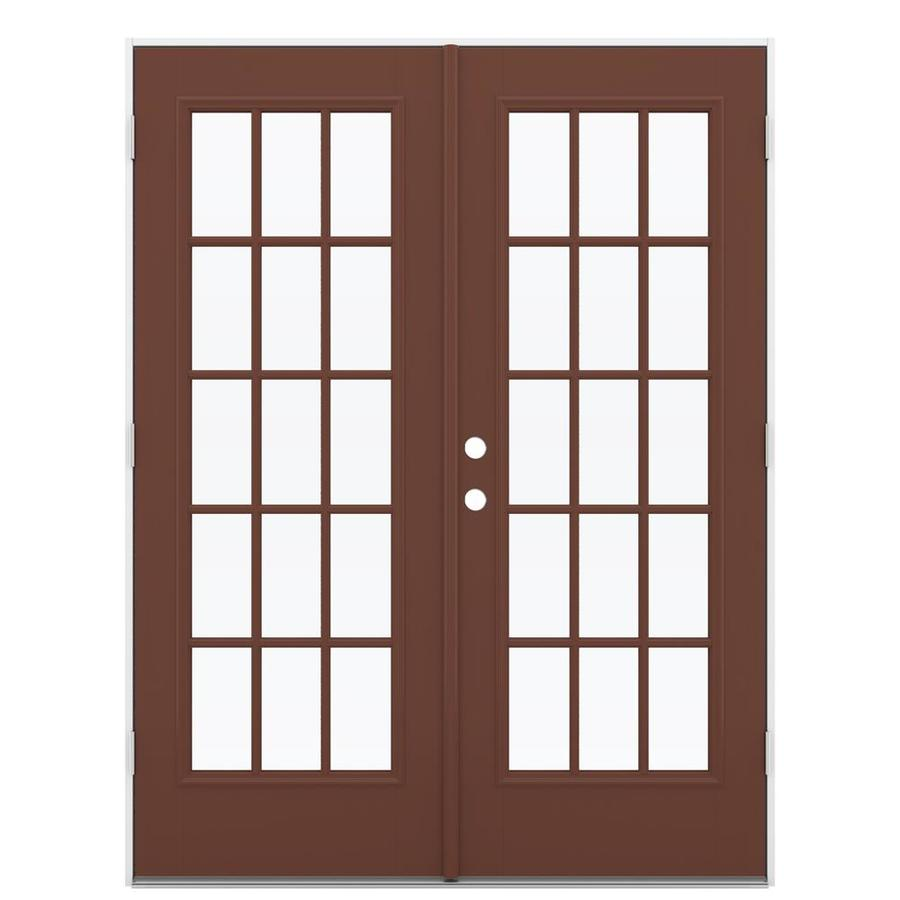 ReliaBilt 59.5-in 15-Lite Glass Foxtail Fiberglass French Outswing Patio Door