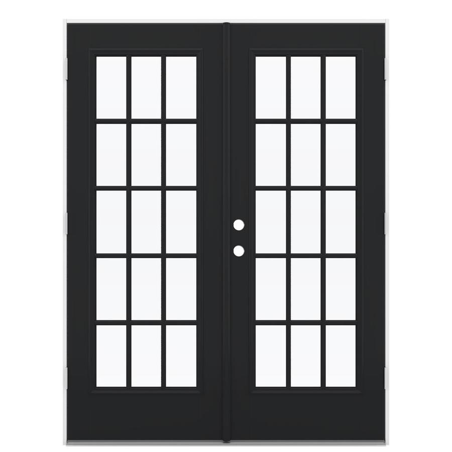 ReliaBilt 59.5-in x 79.5-in Simulated Divided Light Left-Hand Outswing Black Fiberglass French Patio Door