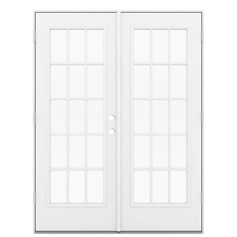 ReliaBilt 59.5-in 15-Lite Glass Primed Fiberglass French Outswing Patio Door