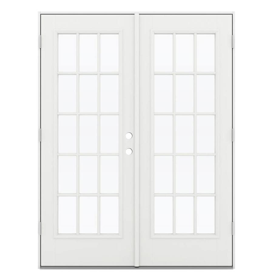 ReliaBilt 59.5-in 15-Lite Glass Arctic White Fiberglass French Outswing Patio Door