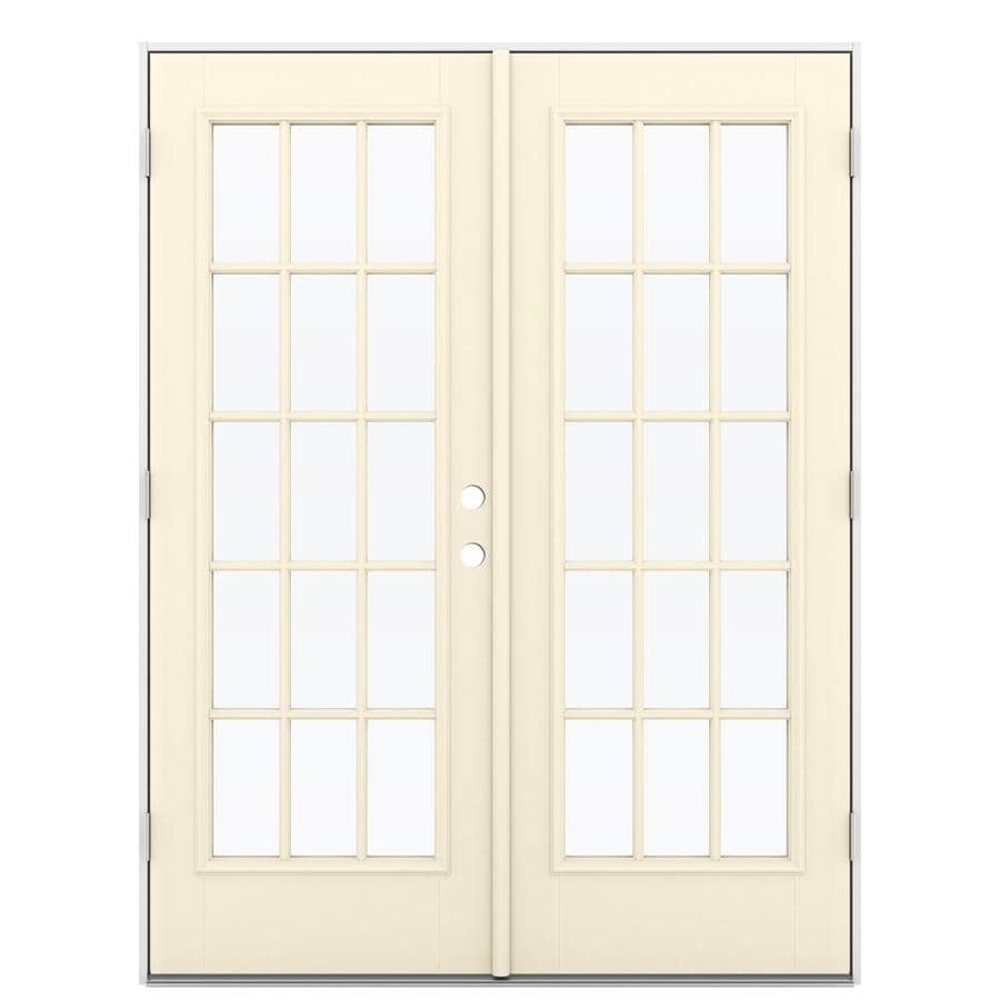 ReliaBilt 59.5-in 15-Lite Glass Bisque Fiberglass French Outswing Patio Door