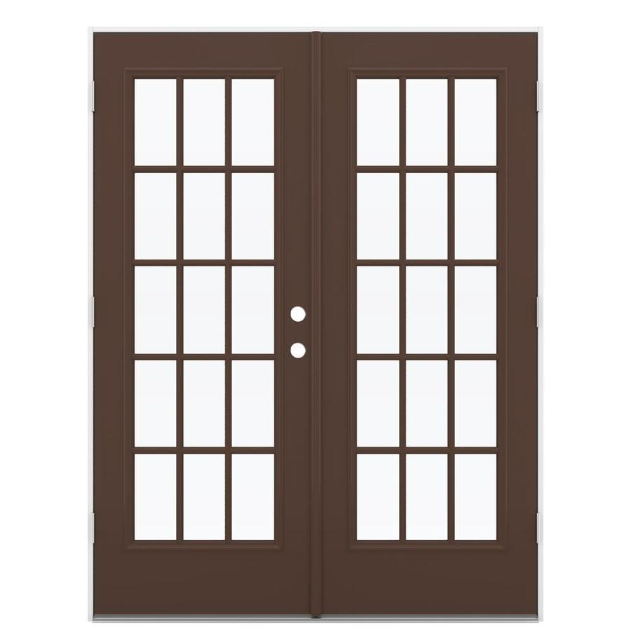 ReliaBilt 59.5-in 15-Lite Glass Chococate Fiberglass French Outswing Patio Door