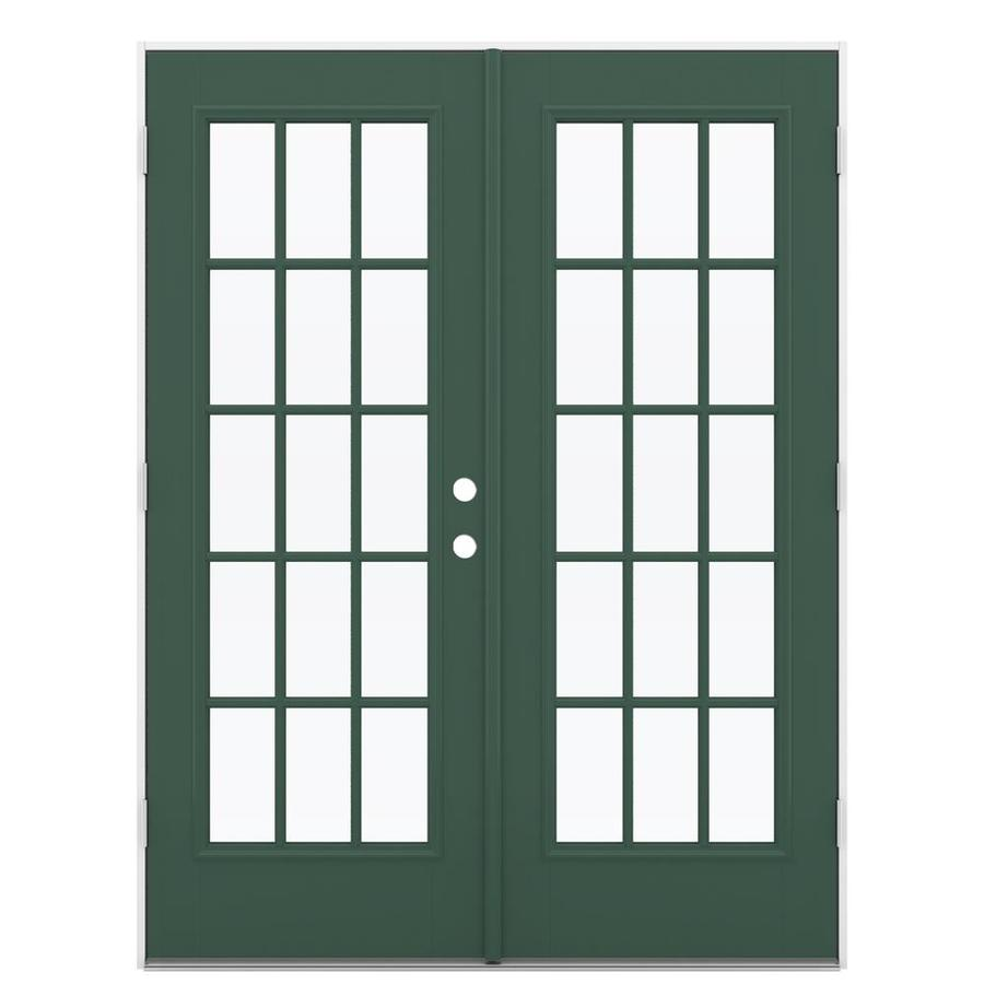 ReliaBilt 59.5-in 15-Lite Glass Evergreen Fiberglass French Outswing Patio Door