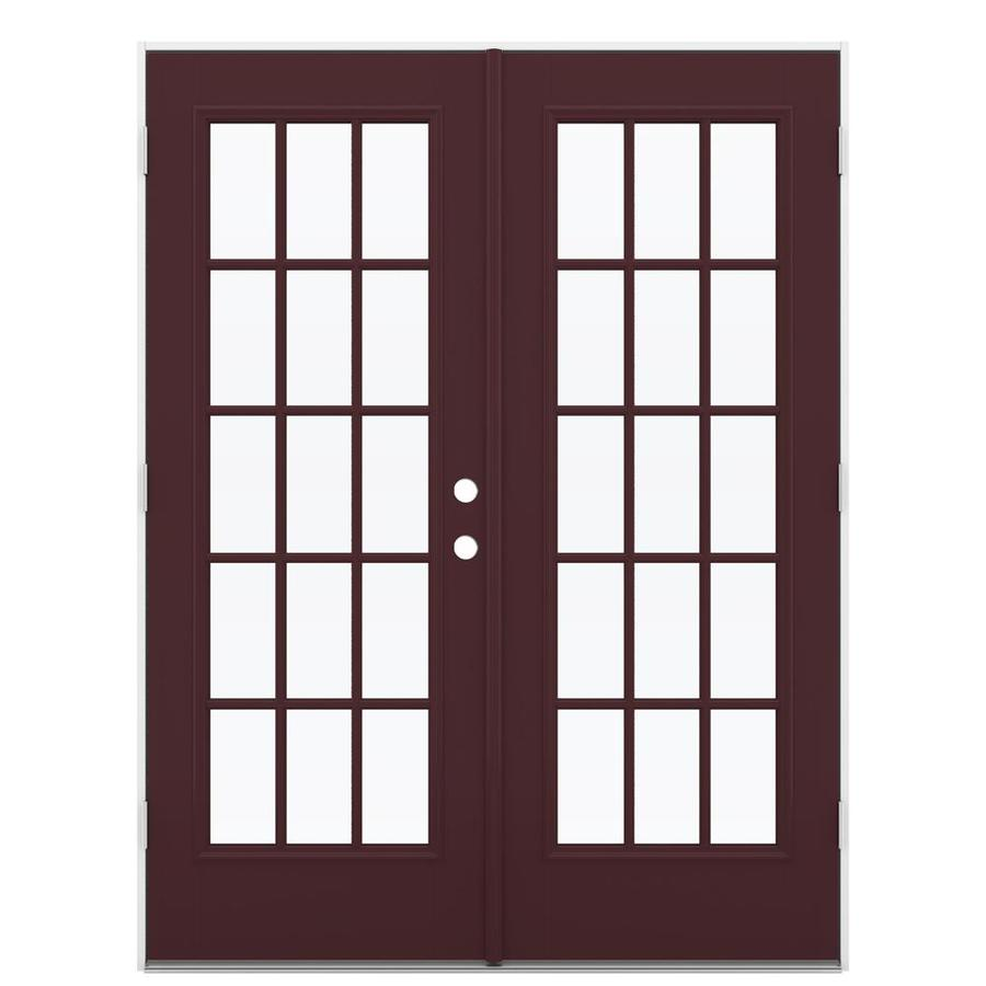 ReliaBilt 59.5-in 15-Lite Glass Currant Fiberglass French Outswing Patio Door