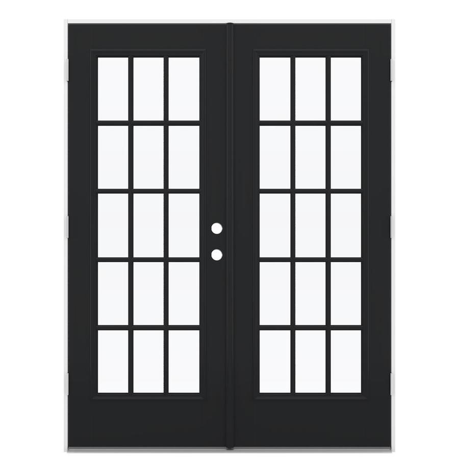 ReliaBilt 59.5-in x 79.5-in Simulated Divided Light Right-Hand Outswing Black Fiberglass French Patio Door