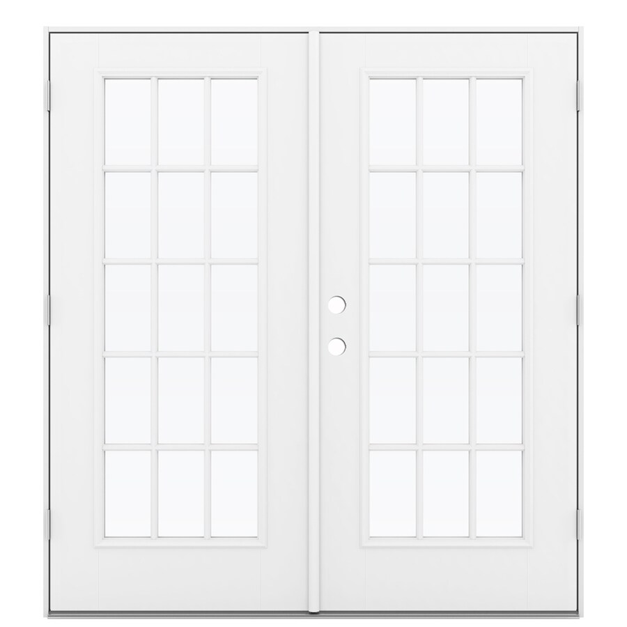 ReliaBilt 71.5-in x 79.5-in Simulated Divided Light Left-Hand Outswing White Fiberglass French Patio Door