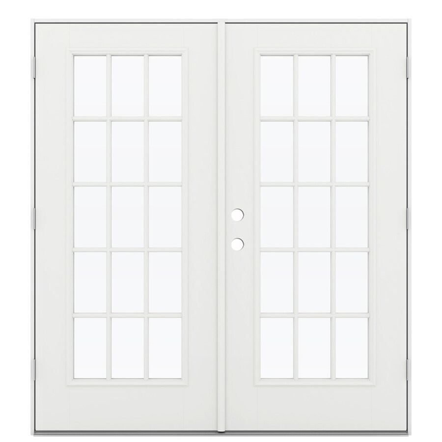 ReliaBilt 71.5-in 15-Lite Glass Arctic White Fiberglass French Outswing Patio Door