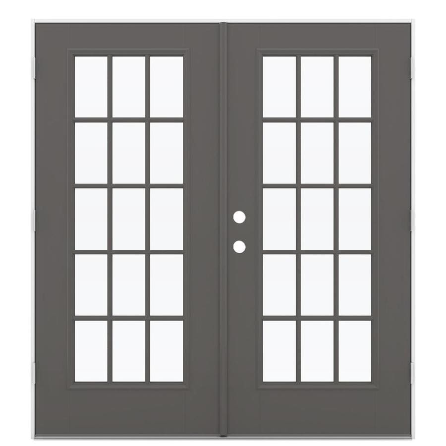 ReliaBilt 71.5-in 15-Lite Glass Timber Gray Fiberglass French Outswing Patio Door
