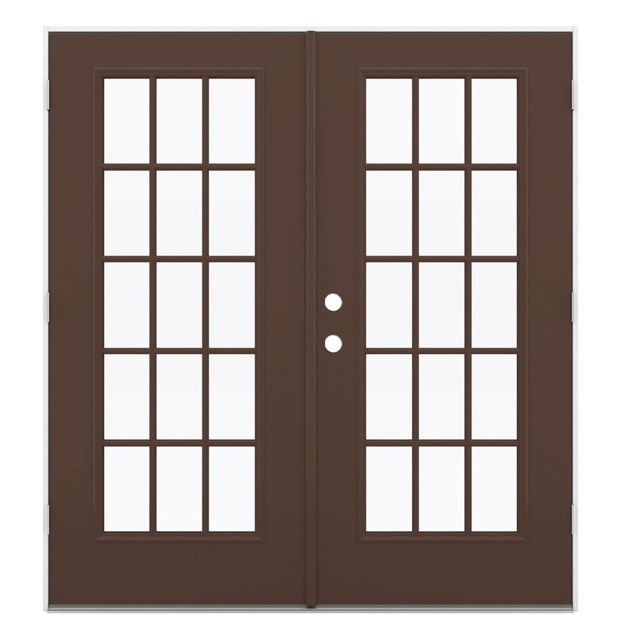 ReliaBilt 71.5-in x 79.5-in Simulated Divided Light Left-Hand Outswing Brown Fiberglass French Patio Door
