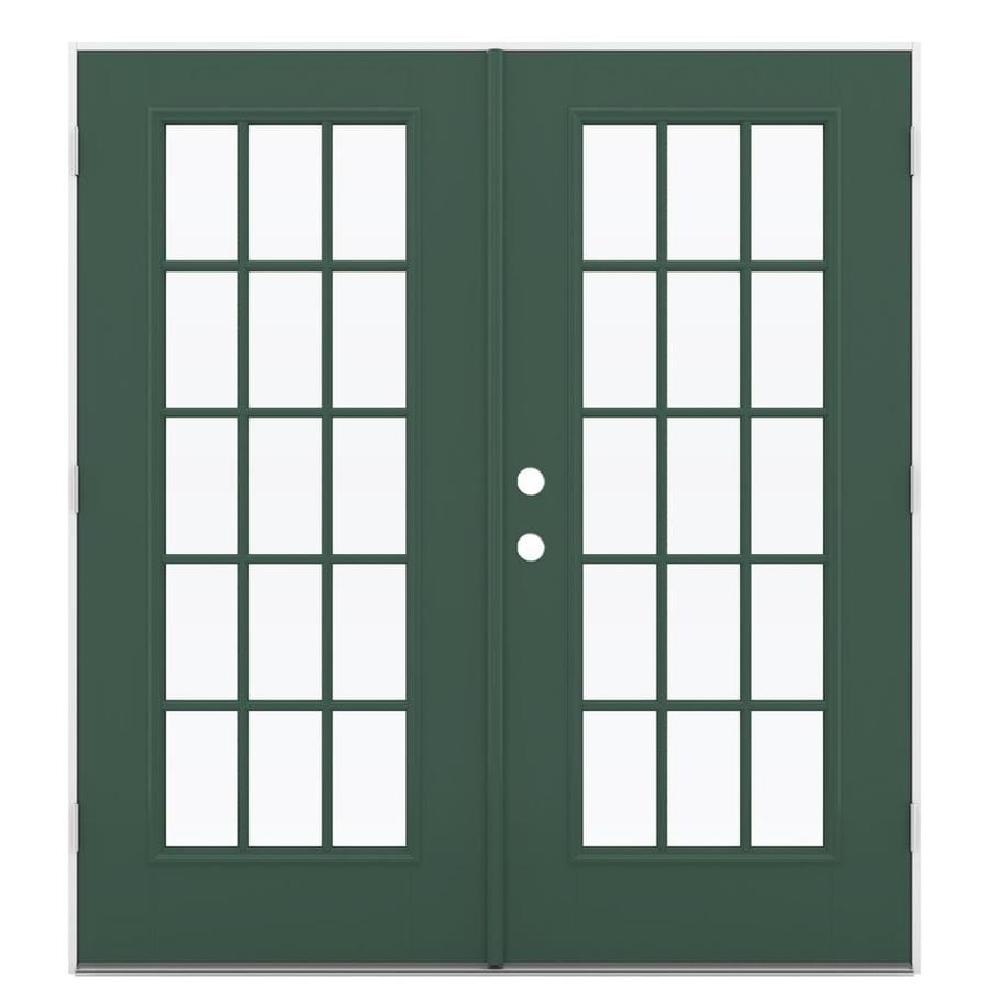 ReliaBilt 71.5-in x 79.5-in Simulated Divided Light Left-Hand Outswing Green Fiberglass French Patio Door