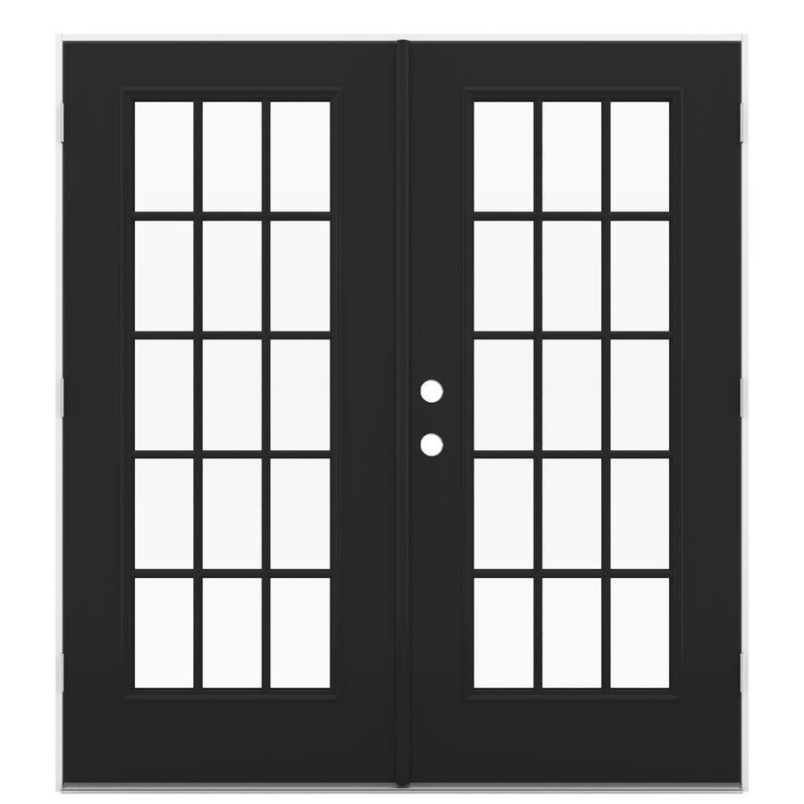 ReliaBilt 71.5-in 15-Lite Glass Peppercorn Fiberglass French Outswing Patio Door