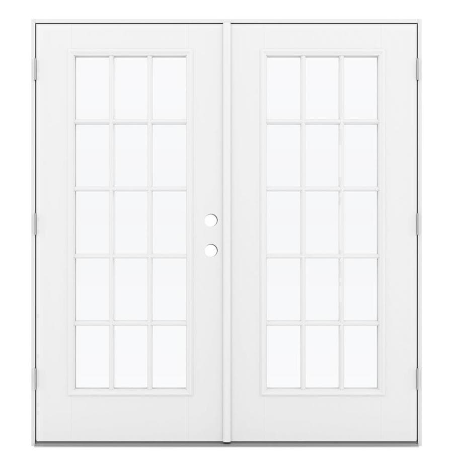 ReliaBilt 71.5-in 15-Lite Glass Primed Fiberglass French Outswing Patio Door