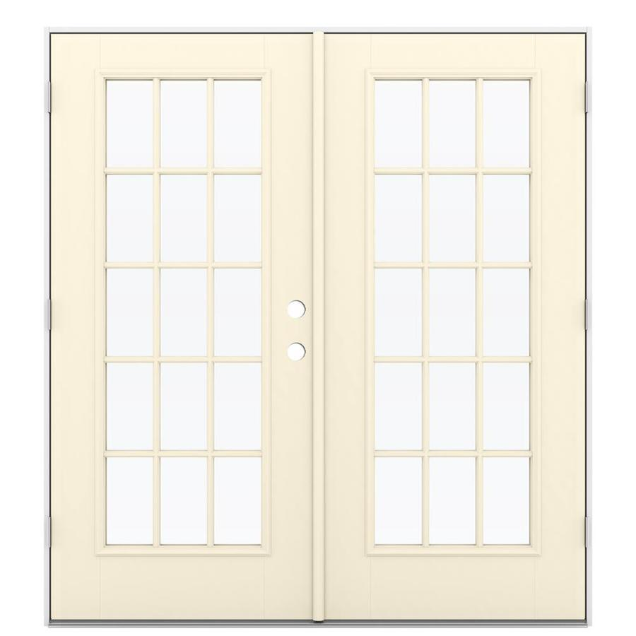 ReliaBilt 71.5-in x 79.5-in Simulated Divided Light Right-Hand Outswing Off-white Fiberglass French Patio Door