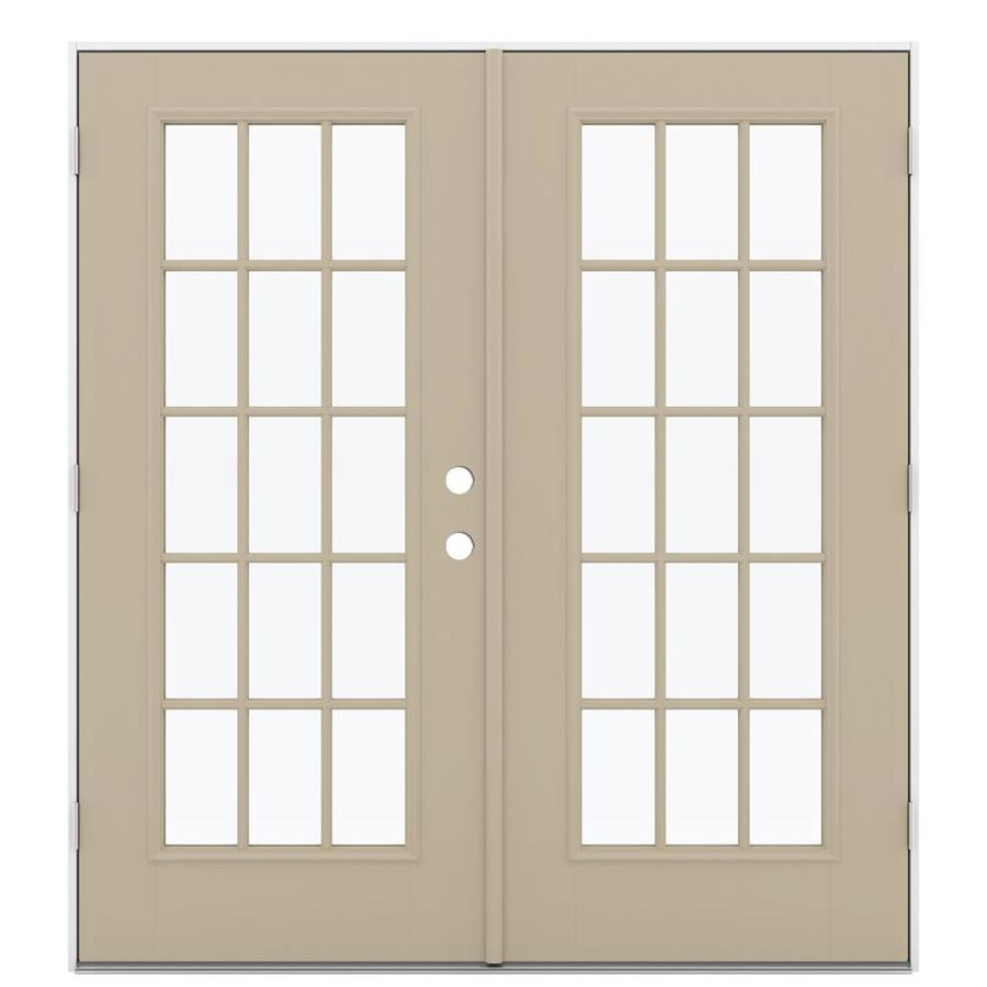 ReliaBilt 71.5-in 15-Lite Glass Sandy Shore Fiberglass French Outswing Patio Door