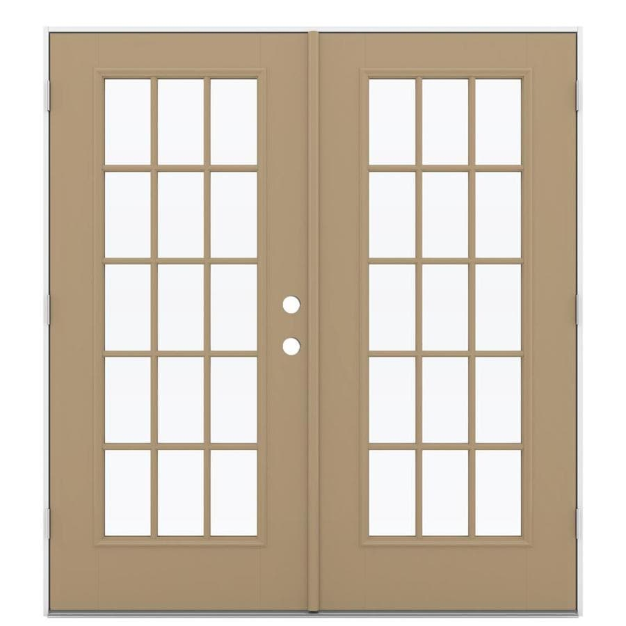 ReliaBilt 71.5-in 15-Lite Glass Warm Wheat Fiberglass French Outswing Patio Door