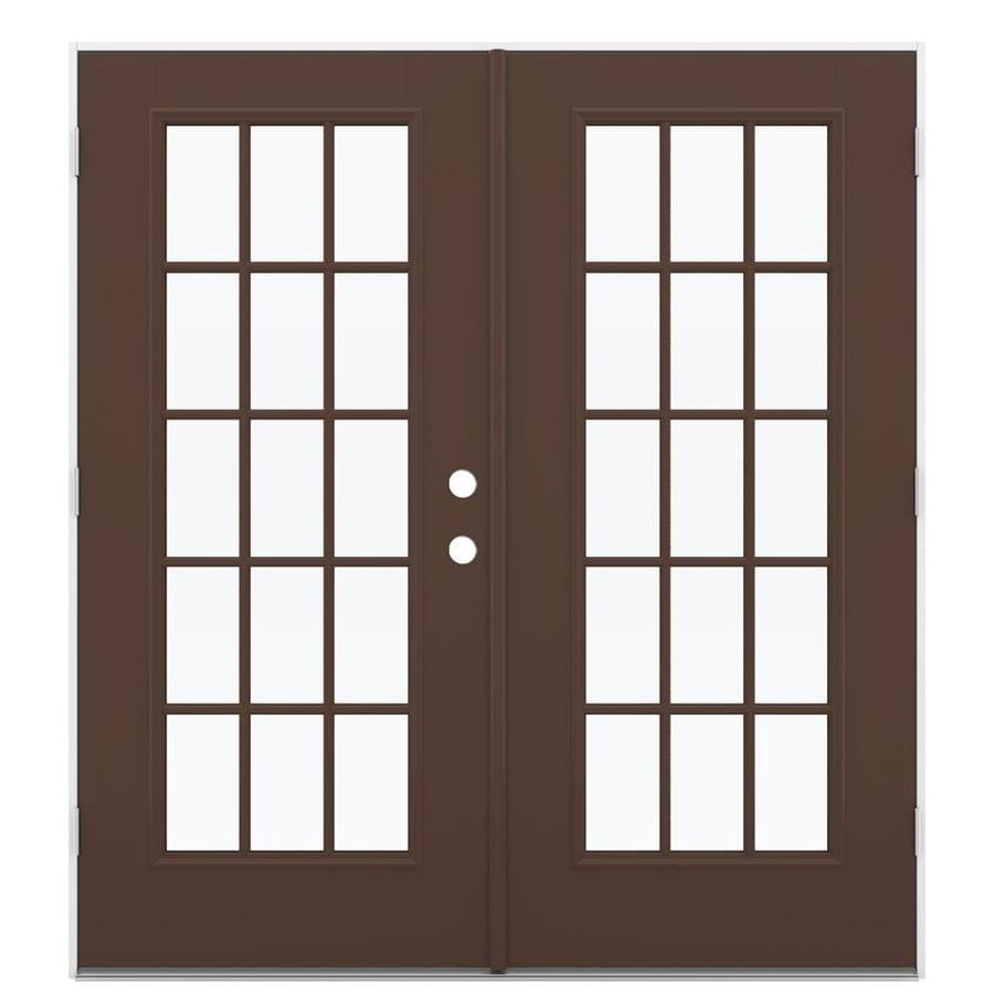 ReliaBilt 71.5 In 15 Lite Glass Chococate Fiberglass French Outswing Patio  Door