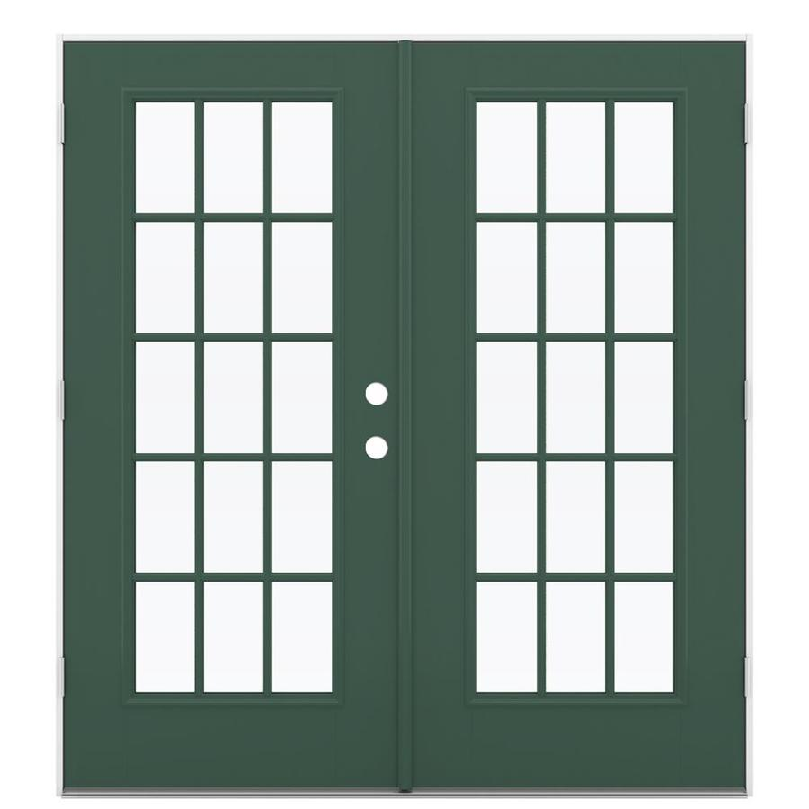 ReliaBilt 71.5-in 15-Lite Glass Evergreen Fiberglass French Outswing Patio Door