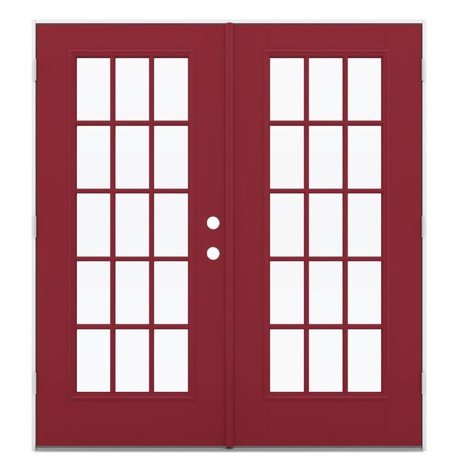 ReliaBilt 71.5-in 15-Lite Glass Roma Red Fiberglass French Outswing Patio Door