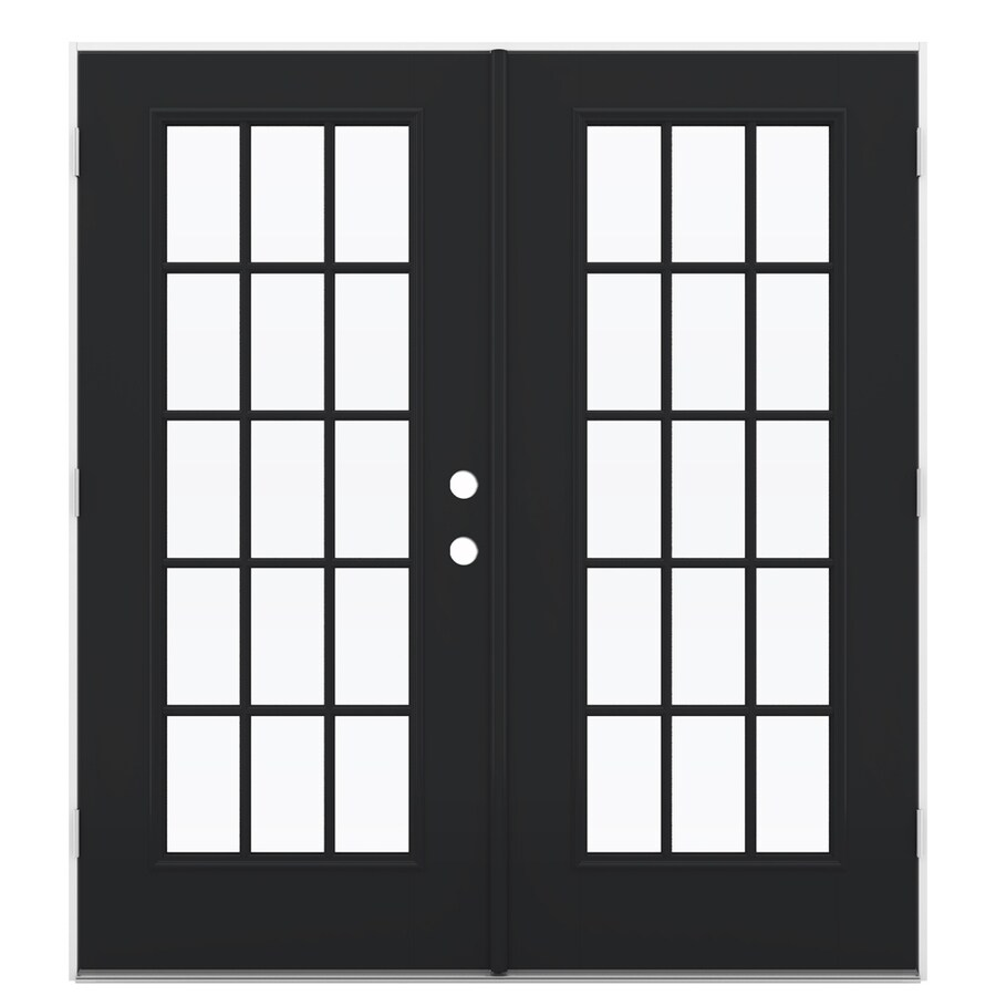 ReliaBilt 71.5-in 15-Lite Glass Peppercorn Fiberglass French Outswing Patio Door