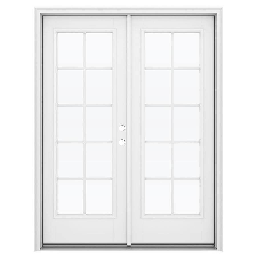 ReliaBilt 59.5-in Grilles Between the Glass Primed Fiberglass French Inswing Patio Door