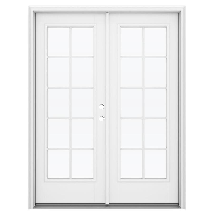 ReliaBilt 59.5-in Grilles Between the Glass Arctic White Fiberglass French Inswing Patio Door