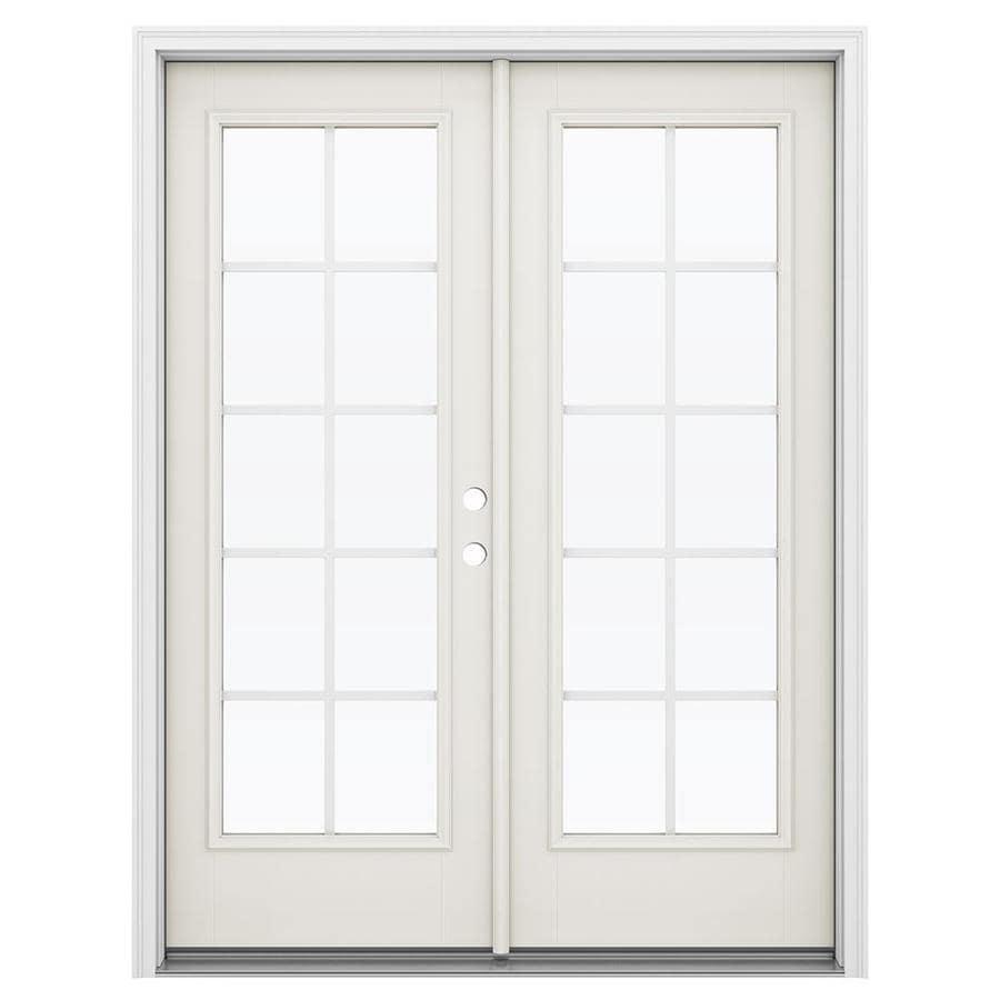 ReliaBilt 59.5-in Grilles Between the Glass Sandy Shore Fiberglass French Inswing Patio Door
