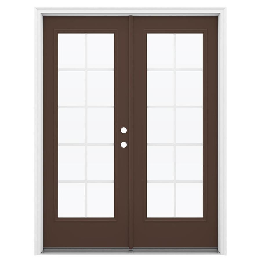 ReliaBilt 59.5-in Grilles Between the Glass Chococate Fiberglass French Inswing Patio Door