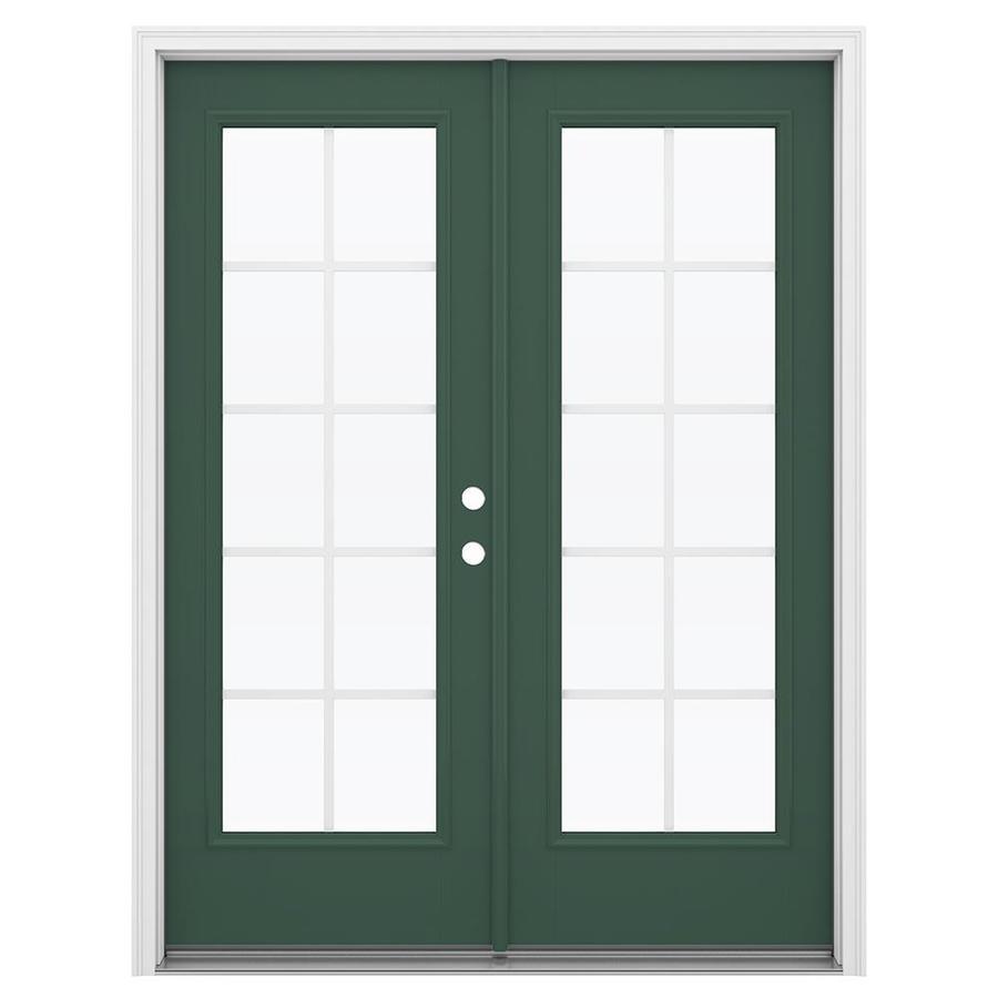 ReliaBilt 59.5-in Grilles Between the Glass Evergreen Fiberglass French Inswing Patio Door