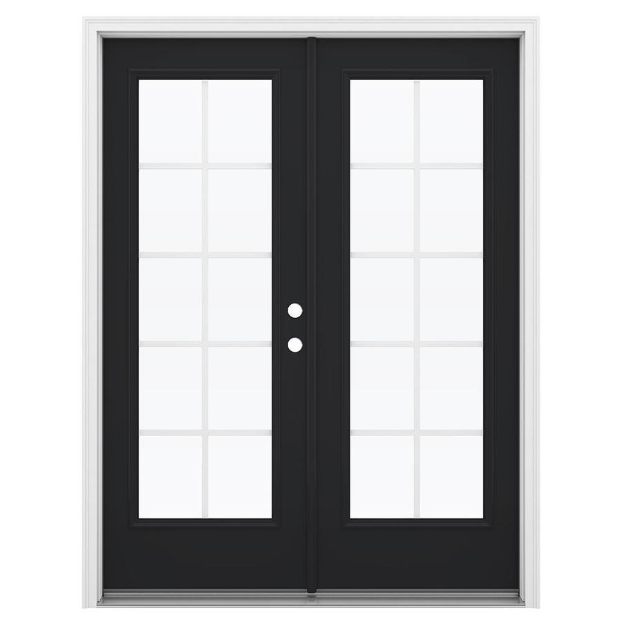 ReliaBilt 59.5-in Grilles Between the Glass Peppercorn Fiberglass French Inswing Patio Door