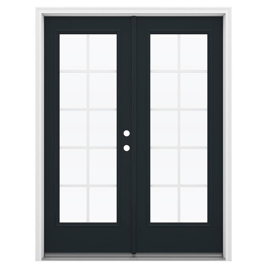 ReliaBilt 59.5-in Grilles Between the Glass Eclipse Fiberglass French Inswing Patio Door