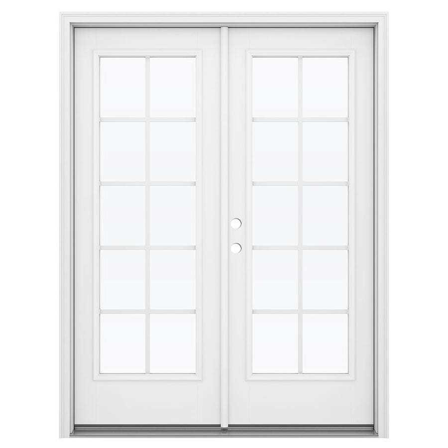 ReliaBilt 59.5-in Grilles Between the Glass Primed Fiberglass French Inswing Patio Door