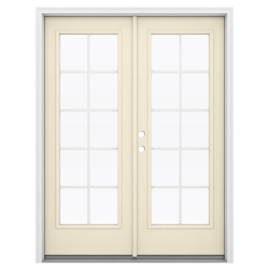 ReliaBilt 59.5-in Grilles Between the Glass Bisque Fiberglass French Inswing Patio Door