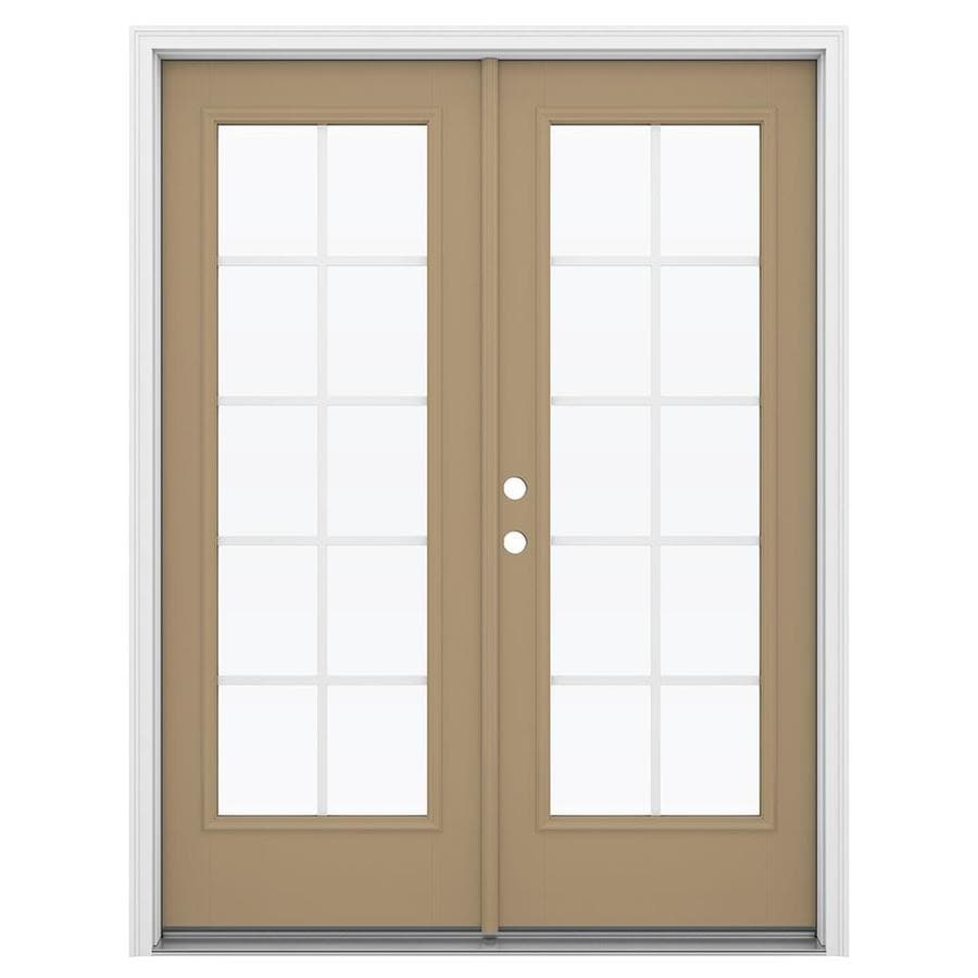 Shop jeld wen 59 5 in x 79 5 in grilles between the glass for Fiberglass french patio doors