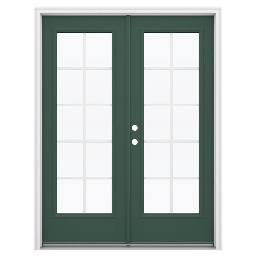 ReliaBilt 59.5-in x 79.5-in Grilles Between the Glass Right-Hand Inswing Green Fiberglass French Patio Door