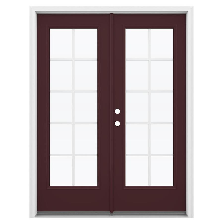 ReliaBilt 59.5-in Grilles Between the Glass Currant Fiberglass French Inswing Patio Door
