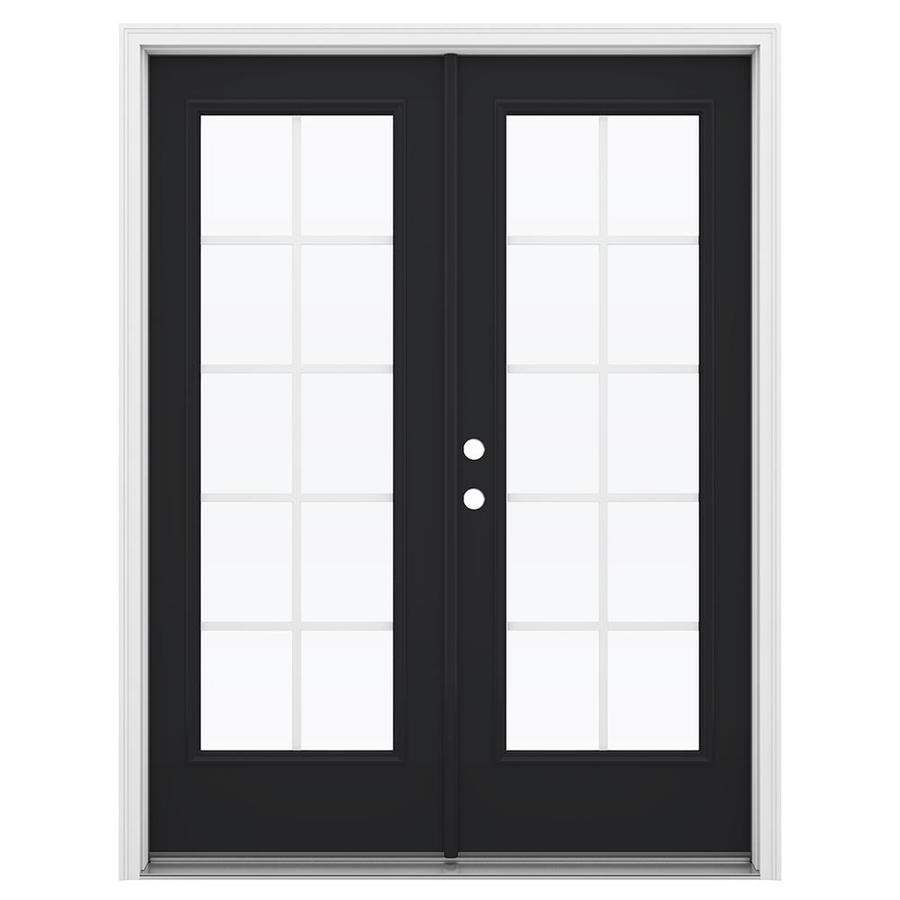 ReliaBilt 59.5-in Grilles Between the Glass Peppercorn Fiberglass French Inswing Patio Door