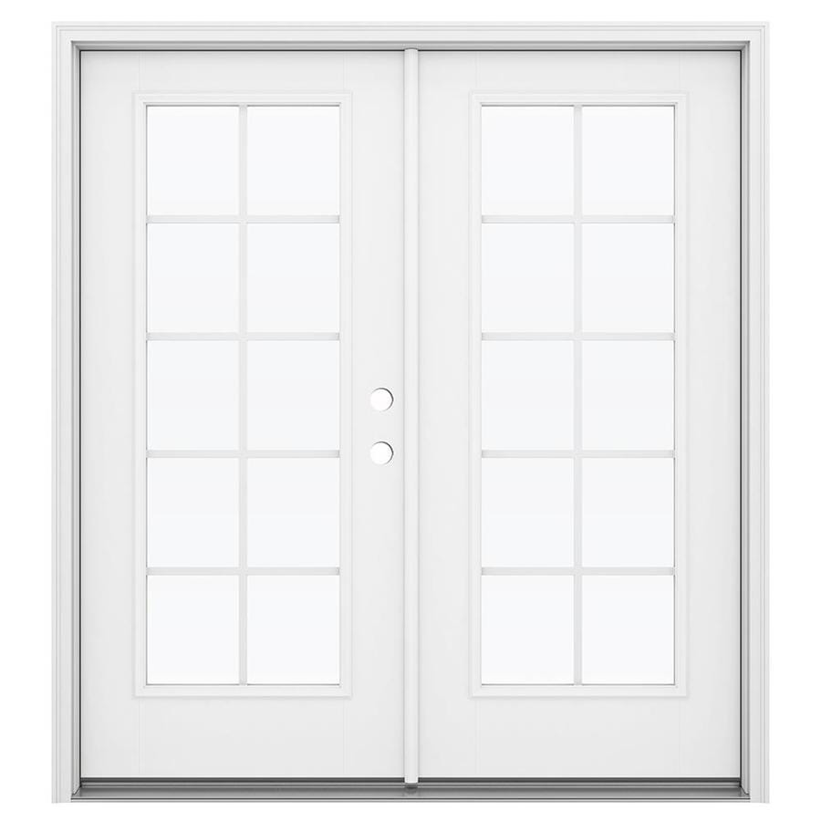 ReliaBilt 71.5-in Grilles Between the Glass Arctic White Fiberglass French Inswing Patio Door