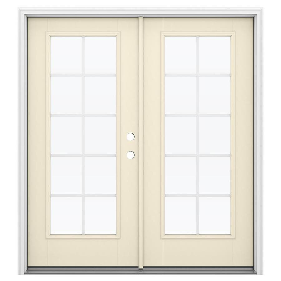 ReliaBilt 71.5-in Grilles Between the Glass Bisque Fiberglass French Inswing Patio Door