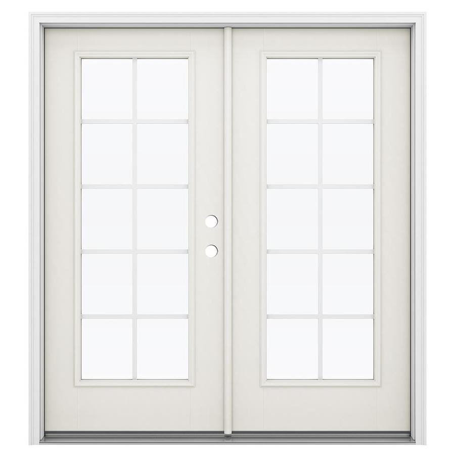 ReliaBilt 71.5-in Grilles Between the Glass Sandy Shore Fiberglass French Inswing Patio Door